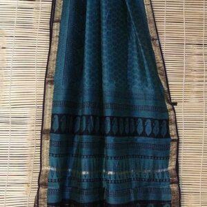 Maheshwari Handloom Bagha Print Saree (12)