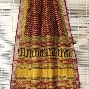 Maheshwari Handloom Bagha Print Saree (15)