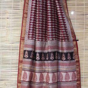 Maheshwari Handloom Bagha Print Saree (17)
