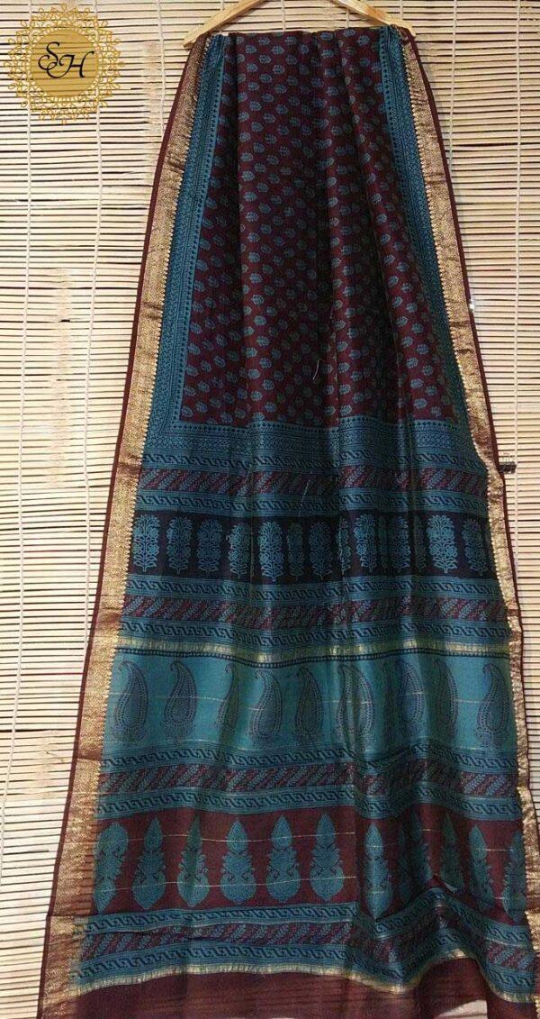 Maheshwari Handloom Bagha Print Saree