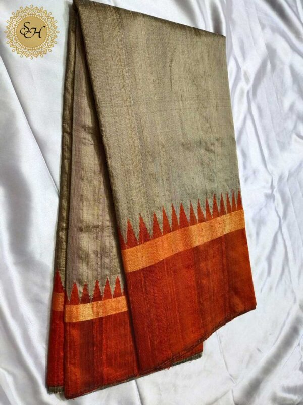 Pure Raw Silk Saree With Temple Border