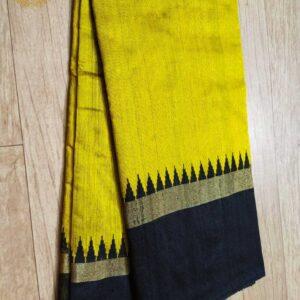 Pure Raw  Silk Saree With Temple Border (10)