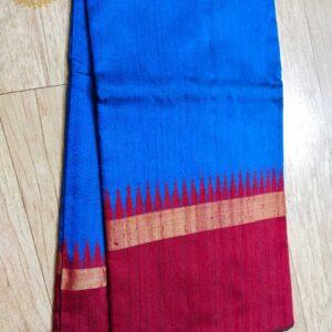 Pure Raw  Silk Saree With Temple Border (11)