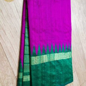 Pure Raw  Silk Saree With Temple Border (12)