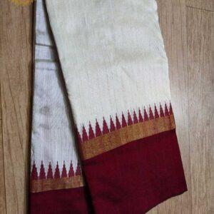 Pure Raw  Silk Saree With Temple Border (13)