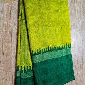 Pure Raw  Silk Saree With Temple Border (17)