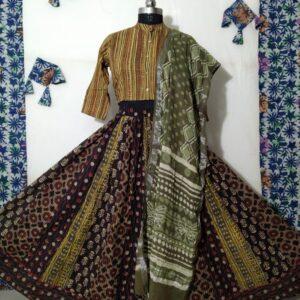 Hand Block Printed Top and Skirt (#17)