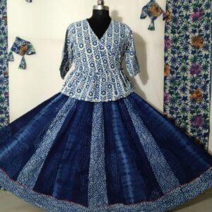 Hand Block Printed Top and Skirt (#13)