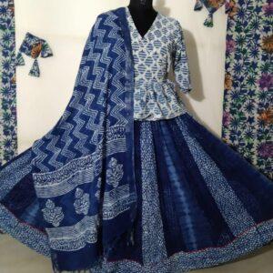 Hand Block Printed Top and Skirt (#10)