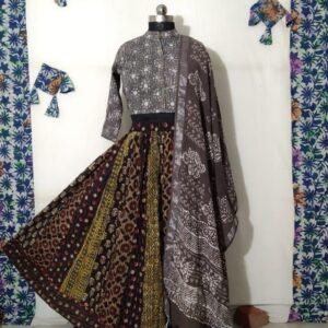 Hand Block Printed Top and Skirt (#9)