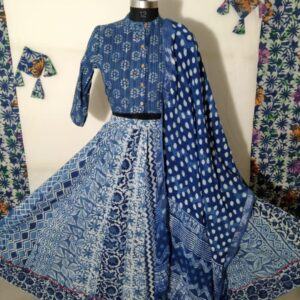 Hand Block Printed Top and Skirt (#7)