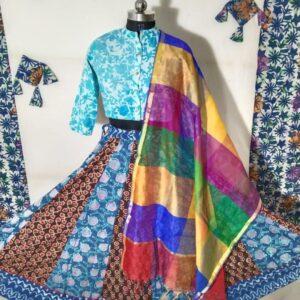 Hand Block Printed Top and Skirt (#4)