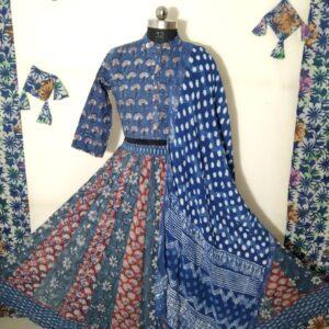 Hand Block Printed Top and Skirt (#2)