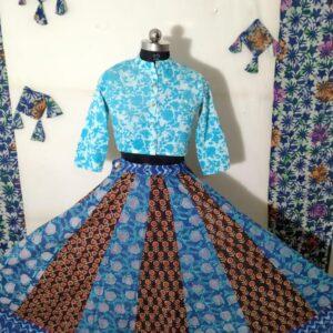 Hand Block Printed Top and Skirt (#23)