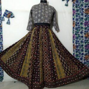 Hand Block Printed Top and Skirt (#22)