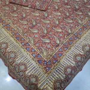 Kalamkari Print Double bedsheet with 2 pillow covers
